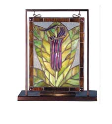 "Meyda Tiffany 9.5""W X 10.5""H Jack-In-The-Pulpit Lighted Mini Tabletop Window"