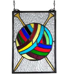 "Meyda Tiffany 6""W X 9""H Ball Of Yarn W/Needles Stained Glass Window"