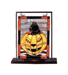 "Meyda Tiffany 9.5""W X 10.5""H Halloween Lighted Mini Tabletop Window"