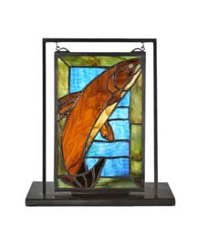 "Meyda Tiffany 9.5""W X 10.5""H Trout Lighted Mini Tabletop Window"