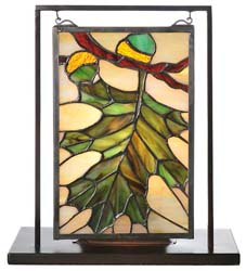 "Meyda Tiffany 9.5""W X 10.5""H Acorn & Oak Leaf Lighted Mini Tabletop Window"
