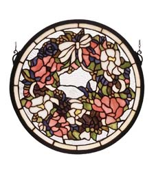 "Meyda Tiffany 15""W X 15""H Wreath Stained Glass Window"