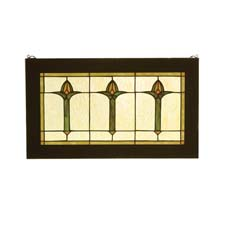"Meyda Tiffany 24""W X 14""H Arts & Crafts Bud Trio Wood Frame Stained Glass Window"