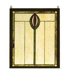 "Meyda Tiffany 14""W X 17""H Spear Wood Frame Stained Glass Window"