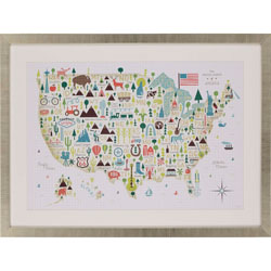 Illustrated USA Wall Art
