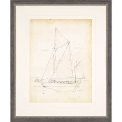 Sailboat Blueprint V Wall Art