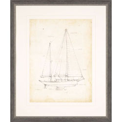 Sailboat Blueprint VI Wall Art