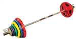 300 lb. Colored Rubber Grip Plate Set with Bar
