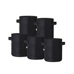 Hydro Crunch 10 in. x 10 in. 3-Gal. Breathable Fabric Pot Bags with Handles, Black Felt Grow Pot (5-Pack)