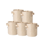 Hydro Crunch 8 in. x 6 in. 1 Gal. Breathable Fabric Pot Bags with Handles Tan Felt Grow Pot (5-Pack)