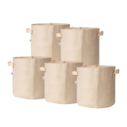Hydro Crunch 15 in. x 16 in. 15 Gal. Breathable Fabric Pot Bags with Handles Tan Felt Grow Pot (5-Pack)