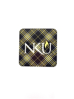 Northern Kentucky University Tartan Coaster - Set of 4.  Cork back.  Clear packaging.  Made in USA.