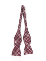 "University of Alabama Tartan Silk Bow Tie.  100% Silk.  Adjustable to 18"".  Dry Clean Only.  Made in America.  Crimson Tide Bow Tie"