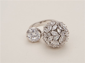 (100Set Only) Kaden Love White Gold-Tone Marque Ball Ring
