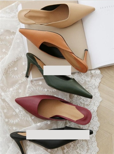 (Pre-Order) Must Have Square Line High Mule (Ivory/DarkBeige/Orange/Gold/Silver/Khaki/Wine/Beige/Black) (225~250) (will ship within 1~2 weeks)