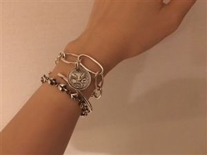 Coin Silver 925 Bracelet (Silver/Gold)  (will ship within 1~2 weeks)