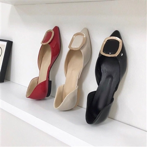 Square Detail Flat (Cream/Black/Red) (230~250) (will ship within 1~2 weeks)