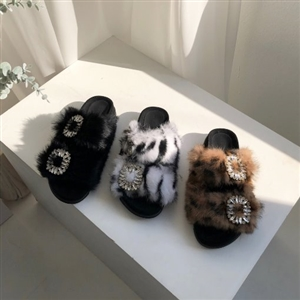 Jewel Rabbit Fur Slippers (Black/Brown/White) (230~250) (will ship within 1~2 weeks)
