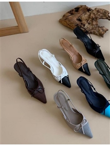 Cha SlingBack Heels (Grat/White/Pink/Blue/Brown/Black/Beige) (230~250) (will ship within 1~2 weeks)