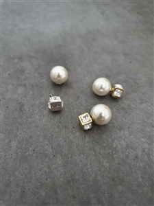 Pearl Cubic Earrings (Gold/Silver) (will ship within 1~2 weeks)