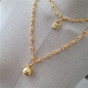Ball & Lock Silver 925 Necklace (Gold/Silver/RoseGold) (will ship within 1~2 weeks later)
