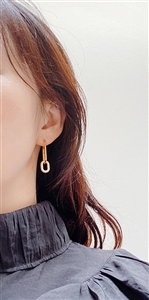 Two Connected Silver 925 Earrings (White/Gold/RoseGold) (will ship within 1~2 weeks later)