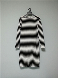 (Best; 3rd Reorder) Navy Stripe Square Neck Dress