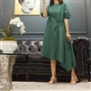 (Best; 2nd Reorder) Unbalanced Banding Linen Dress (Beige/Green)