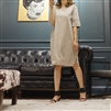 (Best; 2nd Reorder) Beige Cotton Belt Dress