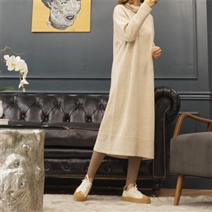 (Best; 2nd Reorder) Beige Lambswool Turtleneck Dress
