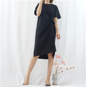 (Best; 2nd Reorder) Black Twisted Detail Dress