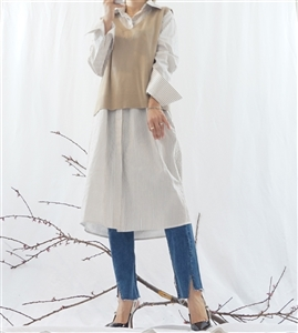 (Best; 2nd Reorder) Beige Vest and Shirt Dress Set