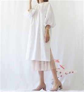 (Best; 3rd Reorder) Ivory Puff Sleeve Lace Detailed Dress