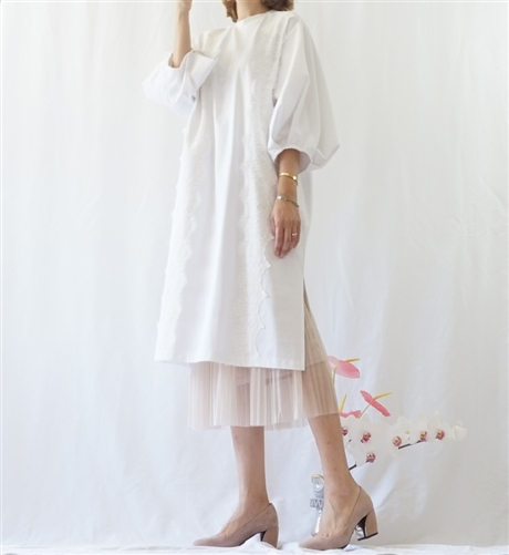 (Best; 2nd Reorder) Ivory Puff Sleeve Lace Detailed Dress