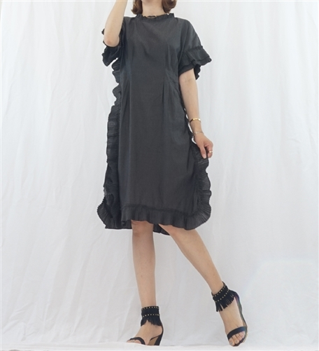 (Best; 3rd Reorder) Charcoal Ruffle Dress
