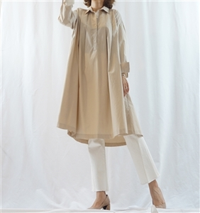 (Best; 2nd Reorder) Beige Pintuck Dress