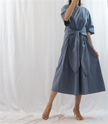 (Best; 2nd Reorder) Blue Ribbon Tied Dress