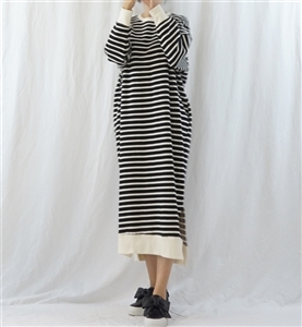 (Best; 2nd Reorder) Black Cotton 100 Stripe Dress