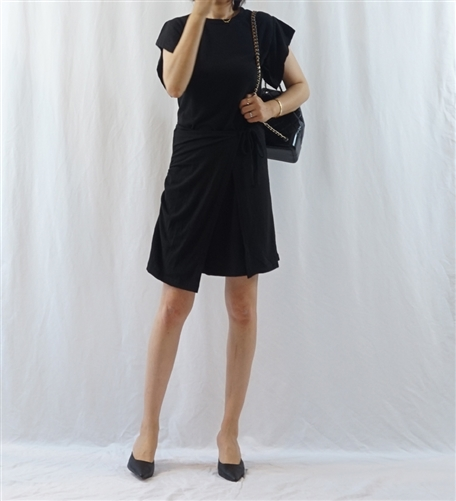 (Best Seller) Marant Wrap Dress (Gray/Black) (will ship within 1~2 weeks)