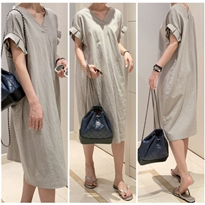 Dio Linen Dress (Light Gray/Cream Beige) (will ship within 1~2 weeks)