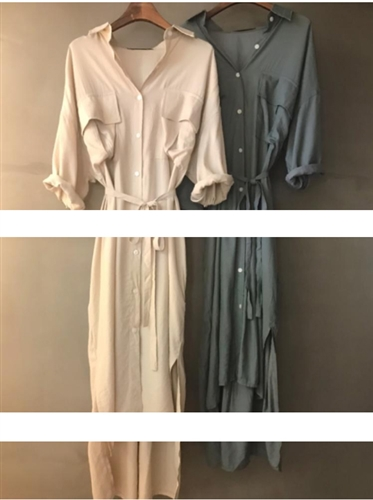 Button Shirt Dress (Beige/Khaki) (will ship within 1~2 weeks)