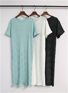 Wrinkle Dress (Ivory/Black/Mint) (will ship within 1~2 weeks)