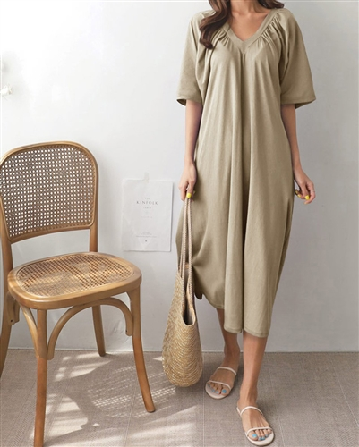 (Back-Order) Beige Mer Dress