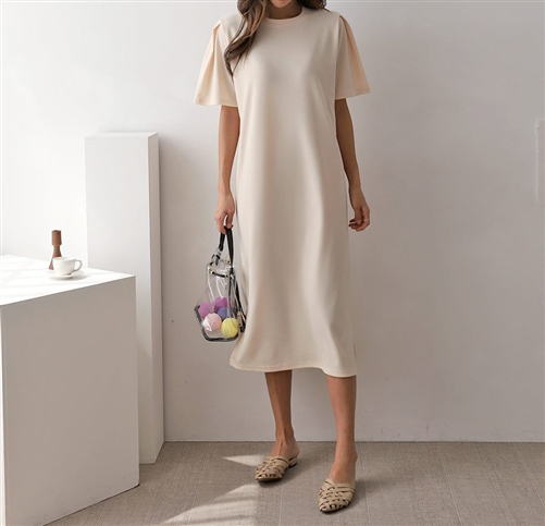 Pintuck Sleeve Dress (Cream/Khaki/Black) (will ship within 1~2 weeks)