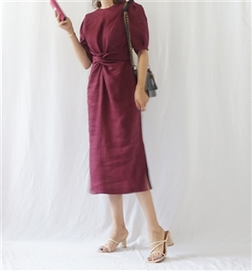 (Best) Her Linen Dress (Burgundy/LimeYellow/Beige) (will ship within 1~2 weeks)