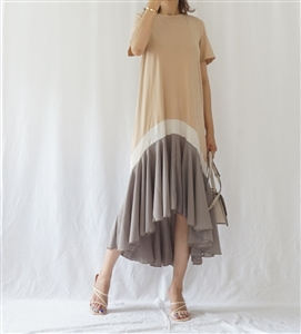 Ruffle Chiffon Dress (Beige/Khaki) (will ship within 1~2 weeks)
