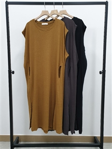 Linen Cotton Pocket Dress (Black/Camel/Charcoal) (will ship within 1~2 weeks)