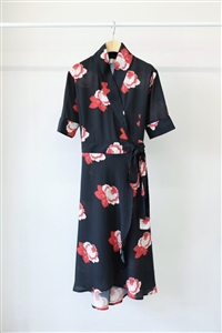 Black Red Rose Robe Dress (S/M) (will ship within 1~2 weeks)