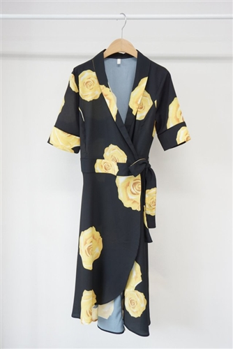 Black Yellow Rose Robe Dress (S/M) (will ship within 1~2 weeks)