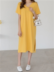 Cotton 100 V Neck Dress (Black/Ivory/Beige/Yellow/) (will ship within 1~2 weeks)